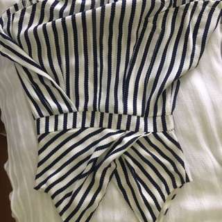 Playsuit white and navy size 8