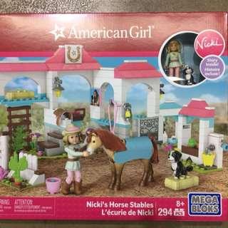 Mega construx american girl nicki's horse stables construction set