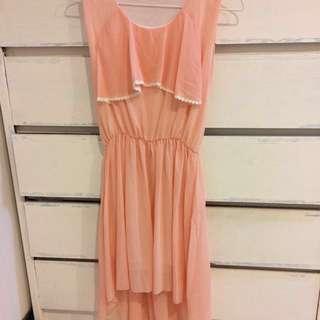 🚚 粉橘色雪紡洋裝 謝師宴