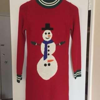NWOT Novelty Excited Snowman Ugly Christmas Sweater Dress - Size XS