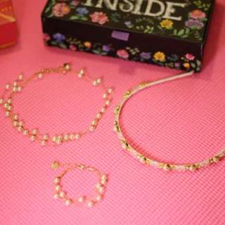 Faux Pearl necklace, bracelet and hairband