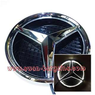 "White 7.3"" Mercedes-Benz 2013-2017 Car Front Radiator Grille Illuminated Star Emblem LED Logo LED Light"
