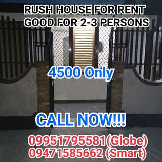 RUSH HOUSE FOR RENT in Bagumbong near Novaliches, Bignay Valenzuela, Meycauyan Toll Gate,