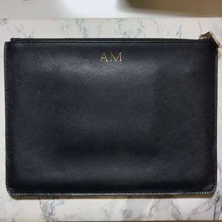 The Daily Edited Black Smooth Leather Pouch w/ AM Monogram