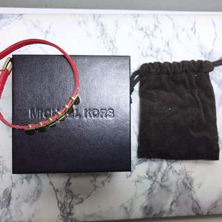 AUTHENTIC Michael Kors Studded Bracelet - Red Leather Strap