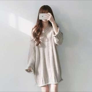 針織麻花連衣裙