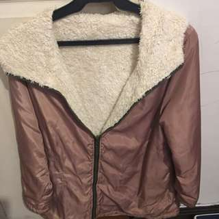 Winter Pink and white fur reversible jacket