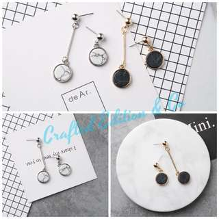 Marble Asymmetric Earrings available in Black or White