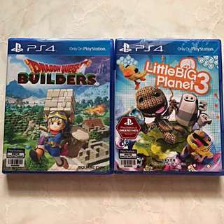 PS4 Dragon Quest Builders and Little Big Planet3