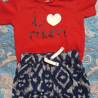 Zara shirt and Carters shorts for 9 months