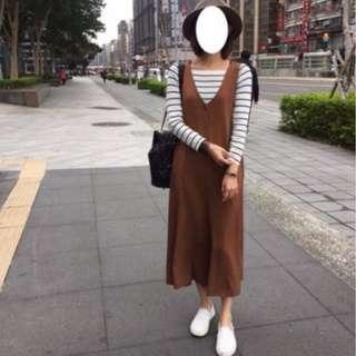 🚚 MAY_5253 韓 二色開釦滑布連身寬褲