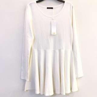 白色 長袖 合身 洋裝