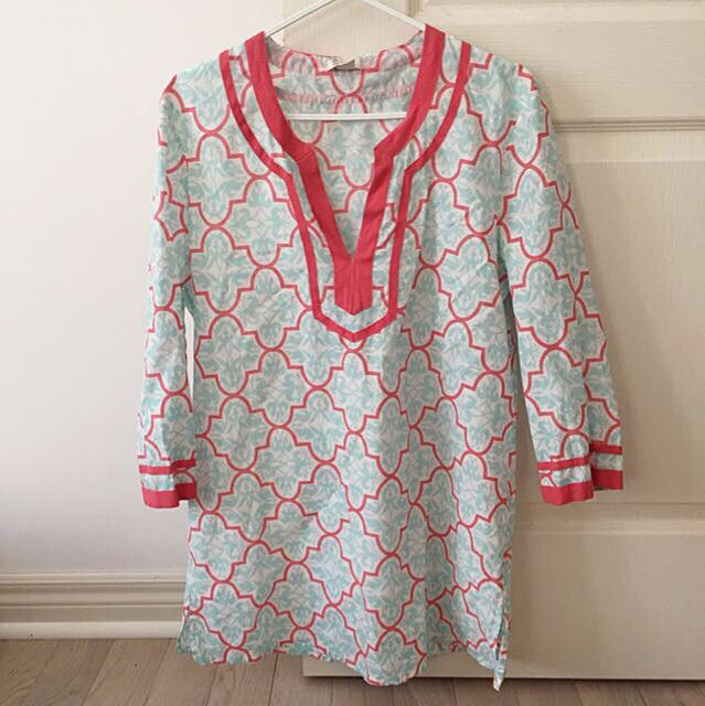 $100 JCREW Printed Tipped V-neck Tunic Coral & Blue M