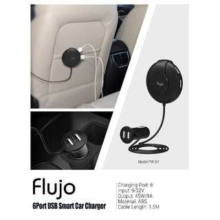 Flujo Car Charging with 6 USB Ports / 2 @ front & 4 @ rear