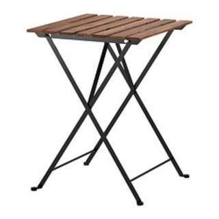 TÄRNÖ Table, outdoor, black acacia, steel grey-brown stained 55x54 cm