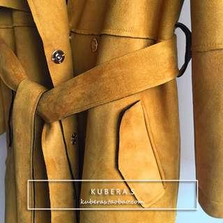 韓 超美芥黃色麂皮長版綁帶大衣