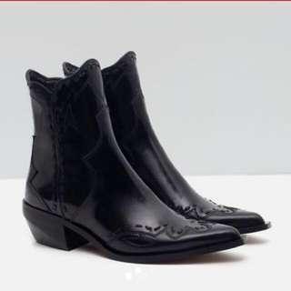 Zara Black Leather Detail Cowboy Boots