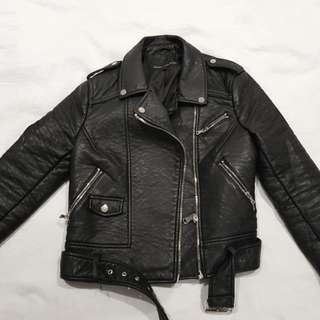AMAZING Forever New pleather leather jacket black size 10