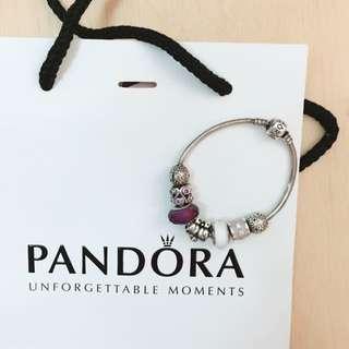 Pandora 經典雙思雀紫白色調閃石手鏈