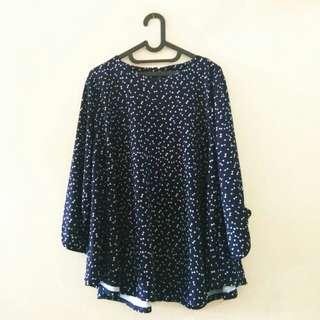 Baju Blouse Biru Bigsize