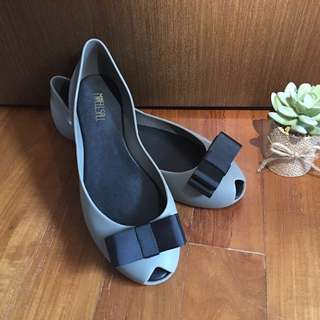 Jelly Shoes Grey with black ribbon bow Brand New!