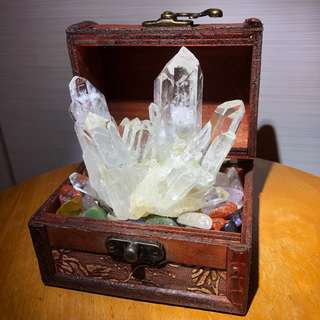White Crystal Cluster Treasure Box - 白水晶簇七彩招财聚宝盆