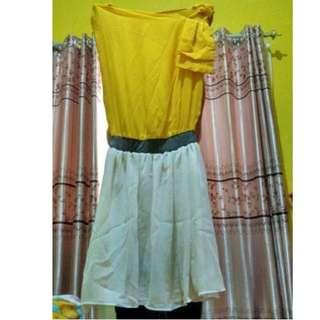 BAJU DRESS WANITA YELLOW PRELOVED MURAH