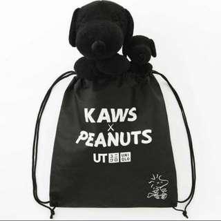 Snoopy x Kaws 1大1小連不織布袋(100% New)