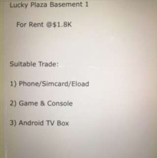 Lucky Plaza Basement 1 For Rent