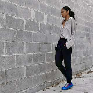 Sportsgirl Velour Jogger Pants Navy - shop rachelteetyler wardrobe