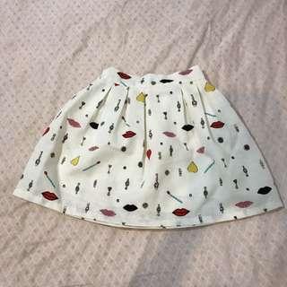 🚚 白色圖案短裙/伸縮拉鍊款