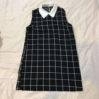 🚚 黑色格紋無袖洋裝