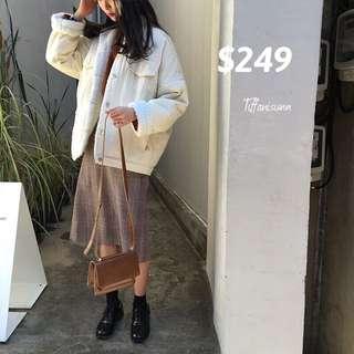 [全新] 白色毛毛厚褸大衣
