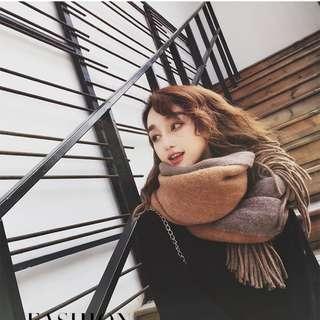 【Miss Coco】冬季韓版長款纯色學生百搭加厚雙面英倫披肩