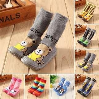 Kids baby soft Anti slip rubber sole  prewalker sock shoes