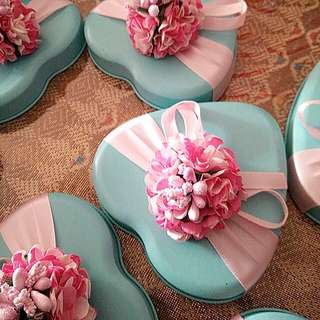 Doorgifts Berkat Tiffany heart pink flowers