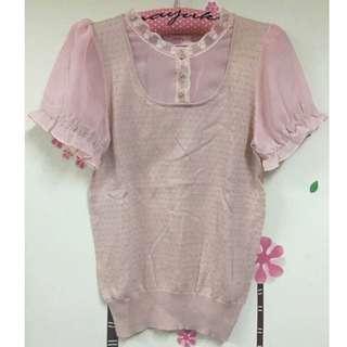 POONE 專櫃粉色針織接雪紡上衣