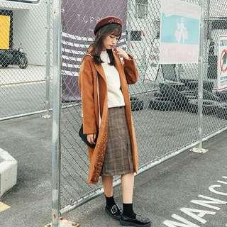韓單長版毛料大衣外套
