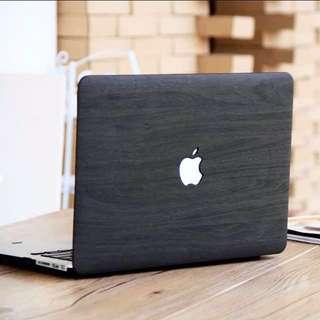 INSTOCK Wood Design MacBook Hard Cover case dark grey brown pink
