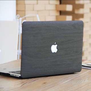 INSTOCK Dark Grey Wood Macbook Hard Cover Case