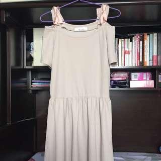 日牌cream Brulee 粉紅色/ 米色跌膊連身裙