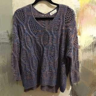 🚚 正韓 藍紫粉交錯織法 寬鬆毛衣