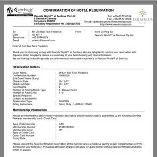 RWS Hotel scam