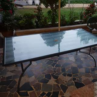 Tempered, frosted glass table.
