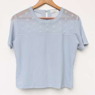 REPRICED! KAZAMIDORI Powder Blue Top W/ Flower Details
