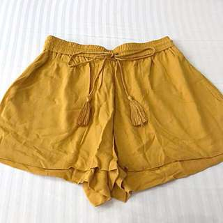 Authentic H&M Honey Gold / Mustard Yellow Drawstring Shorts with Tassels
