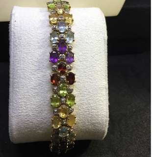 Estate Old Pawn Tourmaline Bracelet vermeil sterling silver