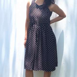 NO BRAND Black White Polkadot Halter Neck Dress/Gaun<100Rb