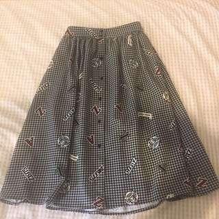 Zara Check Midi Skirt