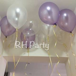 (24/11) Metallic Latex helium balloons ( light purple, white , transparent )